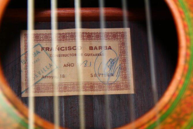 Francisco Barba 1981 Brazilian Rosewood label